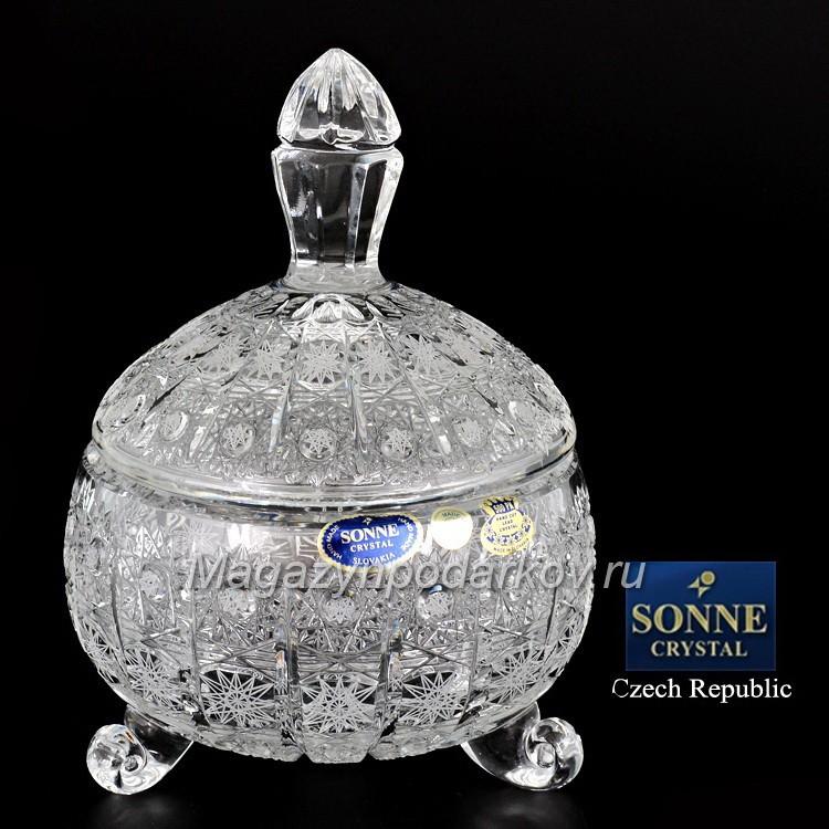 Конфетница с крышкой Sonne Crystal
