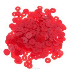 Плоские пайетки Астра, матовые, красные, 6 мм