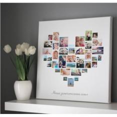 Коллаж из 36 фото в форме сердца на холсте