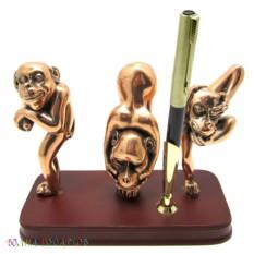 Письменный набор Три обезьянки на деревянной подставке