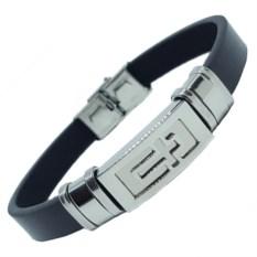 Кожаный браслет Серебристый крест
