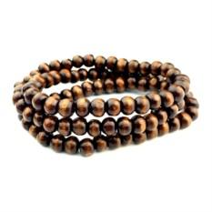 Коричневый браслет из деревянных бусин