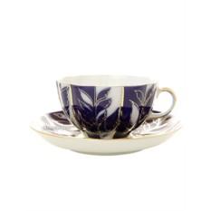 Фарфоровая чайная чашка с блюдцем Зимний вечер
