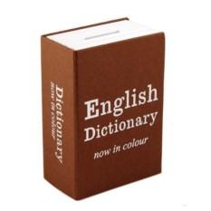 Коричневая мини книга-сейф Английский словарь мини