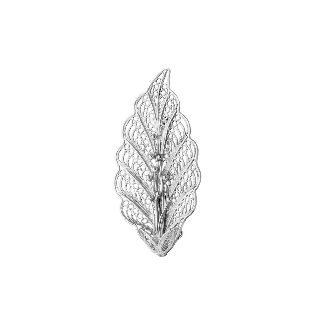 Филигранная серебряная брошь «Молодой листок»