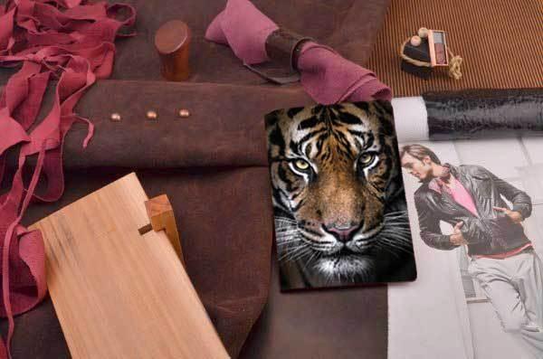 Кожаная обложка для паспорта / автодокументов Морда тигра