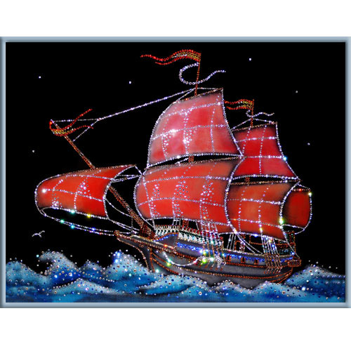Хрустальная картина «Алые паруса»
