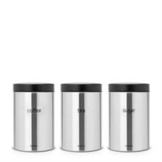 Набор стальных контейнеров для кофе, чая и сахара