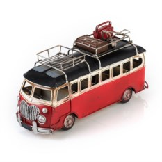 Модель красного ретро-автобуса с фоторамкой