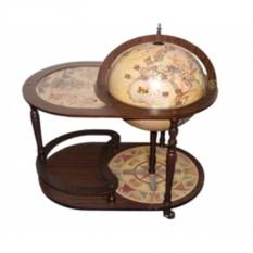 Напольный деревянный глобус-бар со столиком