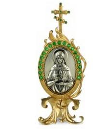 Серебряная икона с образом Святой блаженной Матроны Московской
