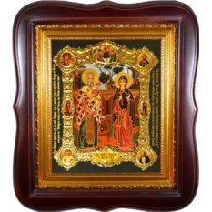 Печатная икона Святые мученики Киприан и Устинья