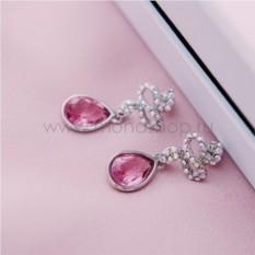 Серьги с розовыми кристаллами Сваровски «Коварство»