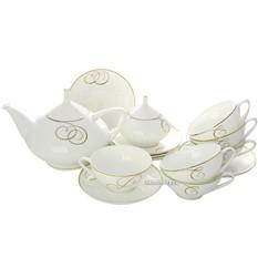 Сервиз фарфоровый чайный, рисунок Золотые завитки