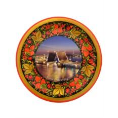 Тарелка-панно хохлома Санкт-Петербург. Разводной мост