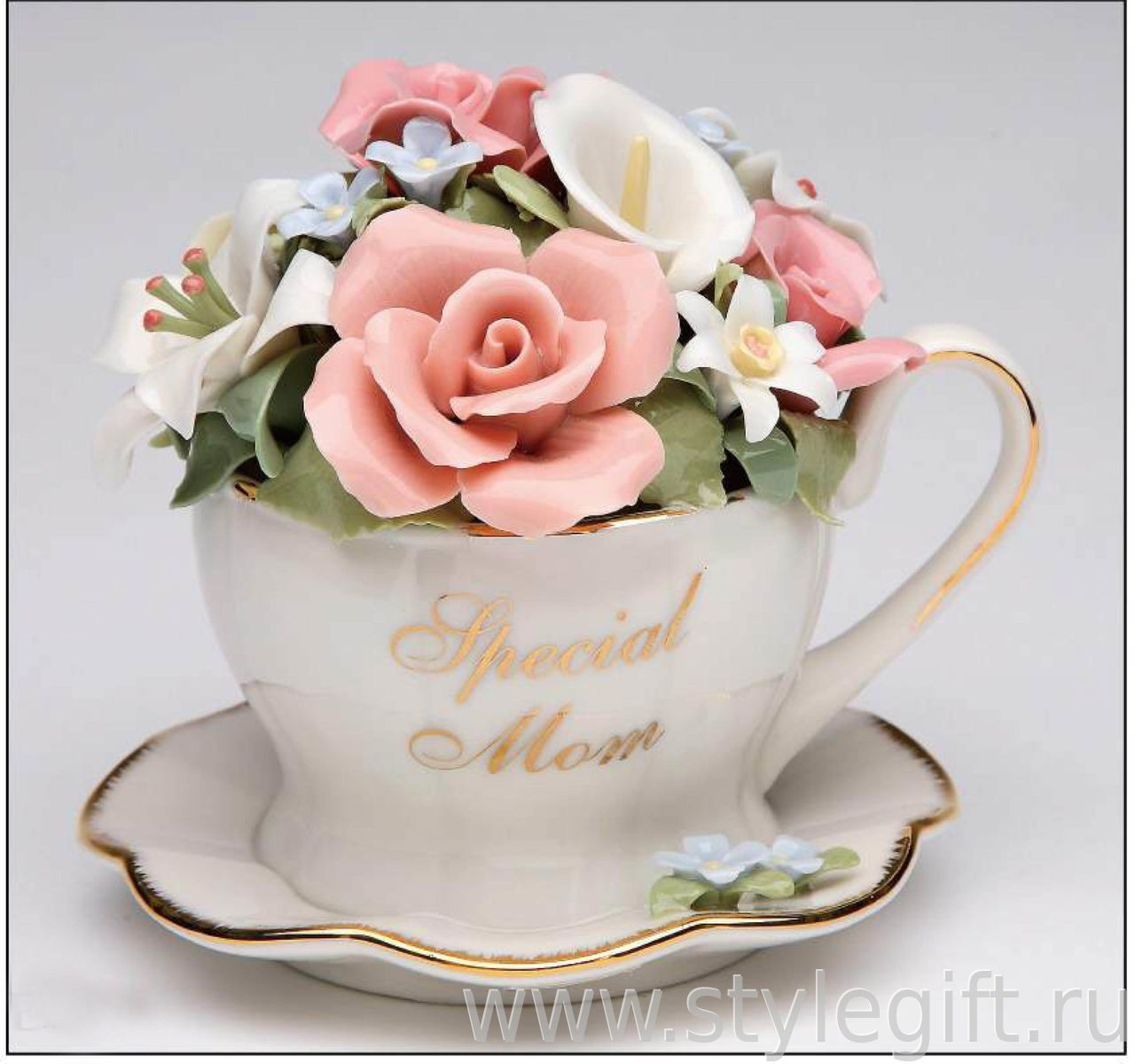 Музыкальная фарфоровая фигурка Чашка для мамы