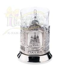 Хрустальный стакан и подстаканник Храм Василия Блаженного