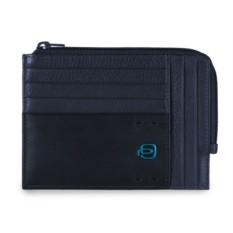 Мужской темно-синий тонкий кошелек на молнии Piquadro Pulse
