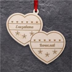Деревянная ёлочная игрушка Два сердца