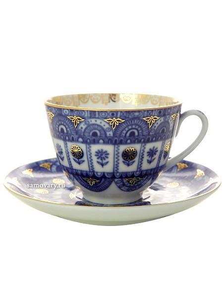 Фарфоровая чайная чашка с блюдцем Арочки