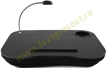 Столик для ноутбука с подушкой и подсветкой Черный