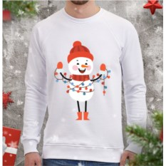 Белый мужской свитшот Снеговик с гирляндой