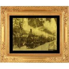 Гравюра из золота Первый паровоз Российской Империи