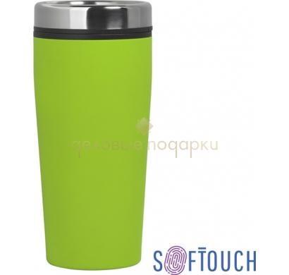 Термостакан с покрытием soft touch Европа (зеленое яблоко)