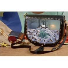 Женская сумка-седло Снежная волна
