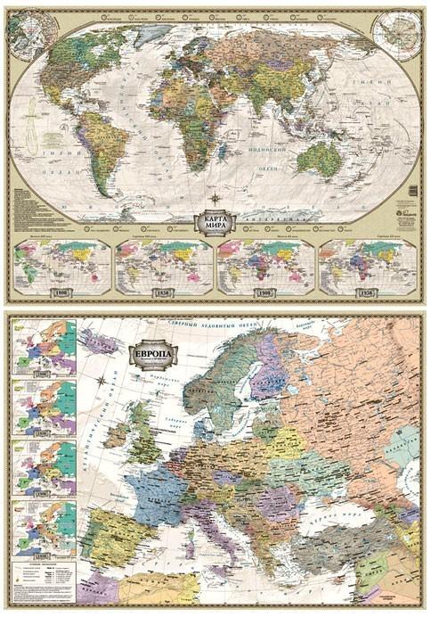 Двухсторонняя настольная карта мира и Европы