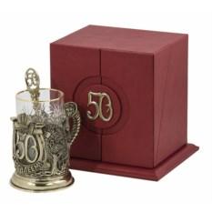 Набор для чая в кожаном футляре С юбилеем-50 лет, бронза