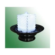 Фонтан с помпой Белый ребристый куб