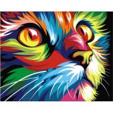 Картина по номерам «Радужный кот»