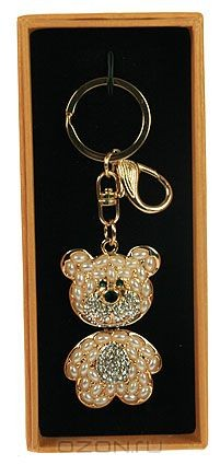 Брелок для сумочки и ключей Мишка, цвет: золотистый, белый