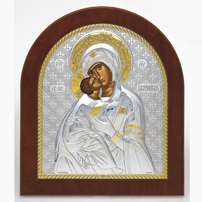 Икона  Божьей матери Владимирская  арочная с кристаллами.