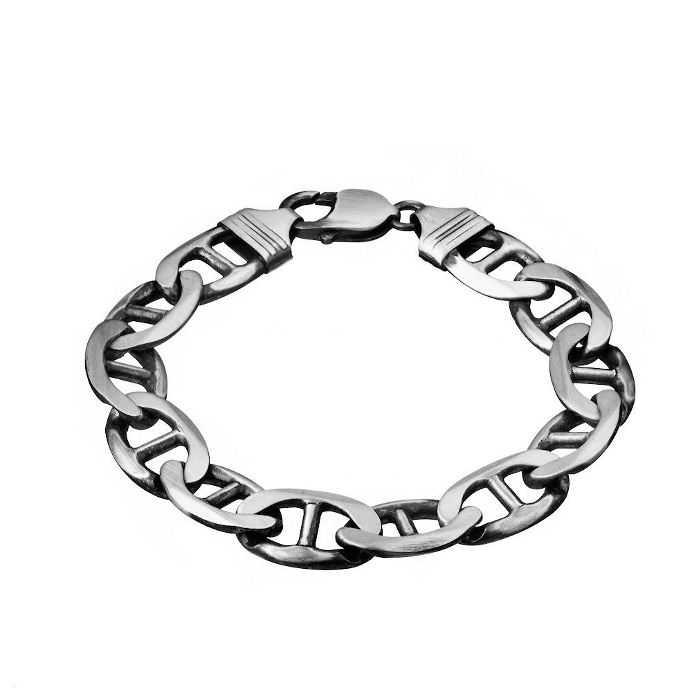 Мужской браслет из черненого серебра «Якорь морской»