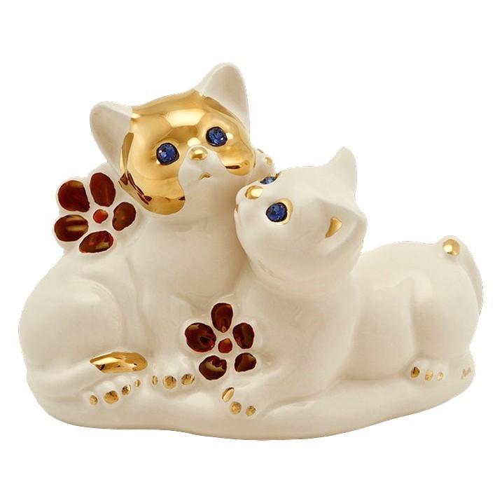 Статуэтка из керамики Пара котят с цветами от Ahura