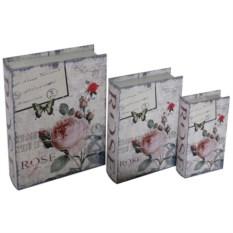 Набор из трех шкатулок в виде книги Rose
