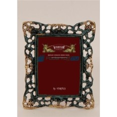 Фоторамка из бронзы Венеция, цвет синий с золотом