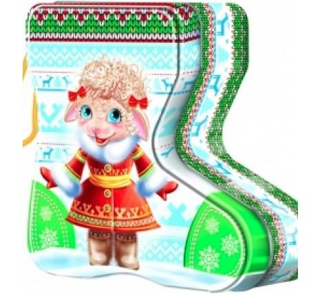 Сладкий новогодний подарок Носок с конфетами