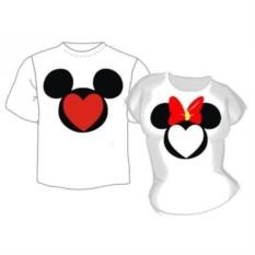 Парные футболки Микки и Мини Маус с мордочкой-сердечком