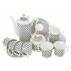 Кофейный сервиз Кобальтовая сетка (6 персон, 15 предметов)
