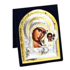 Серебряная икона Казанской божьей матери в бархатном футляре