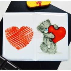 Обложка на паспорт Мишка с сердцем
