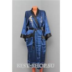 Двусторонний синий китайский халат с вышивкой Дракон