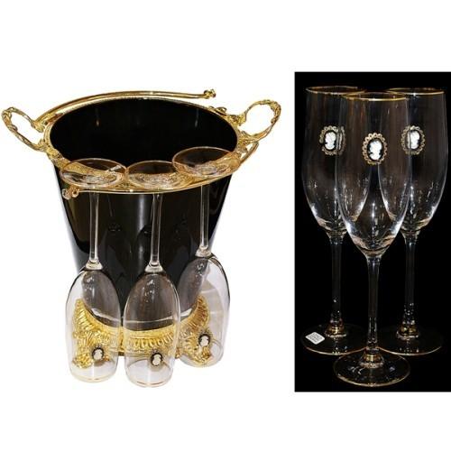 Набор для шампанского (6 бокалов и ведерко для льда)