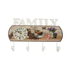 Коллаж-ключница с часами Family