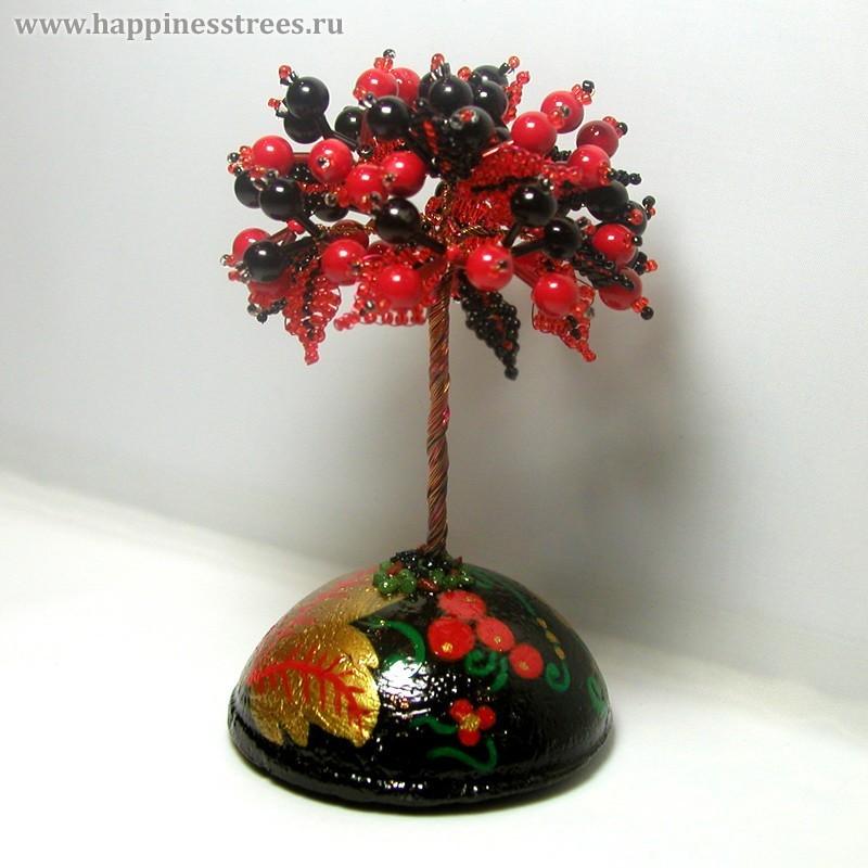 Дерево счастья из черного агата и красного коралла