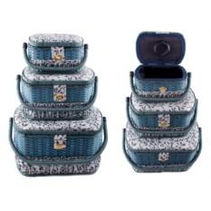 Набор синих шкатулок для рукоделия