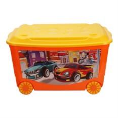 Оранжевый ящик для игрушек на колесах Бытпласт